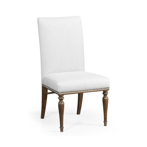 Square Back Bleached Crotch Walnut Dining Side Chair, Upholstered in COM
