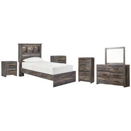 Twin Bookcase Bed With Mirrored Dresser, Chest and 2 Nightstands