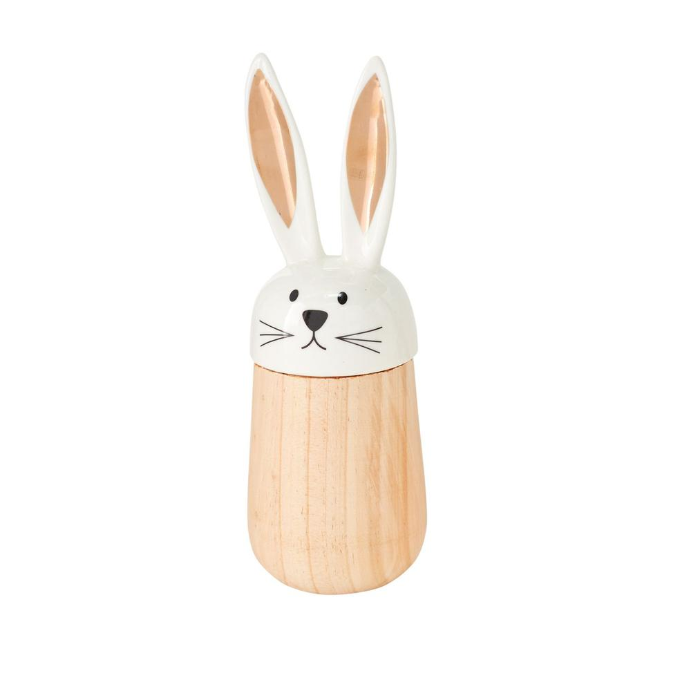 """See Details - Hop-A-Long Bunny Figurine (Size:2.75""""x 8"""", Color:White)"""