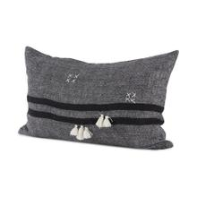 Sibyl 13L x 21W Dark Gray and Black Fabric Striped and Fringed Decorative Pillow Cover