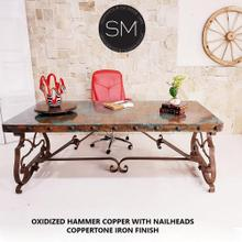 See Details - Mediterranean style Conference - Copper Top Wrought Iron - 1206R - 8' / Oxidized Copper / Dark Rust Brown