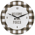 """""""Welcome To Our Porch"""" Gingham Wall Clock Product Image"""
