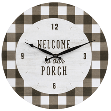 """Welcome To Our Porch"" Gingham Wall Clock"