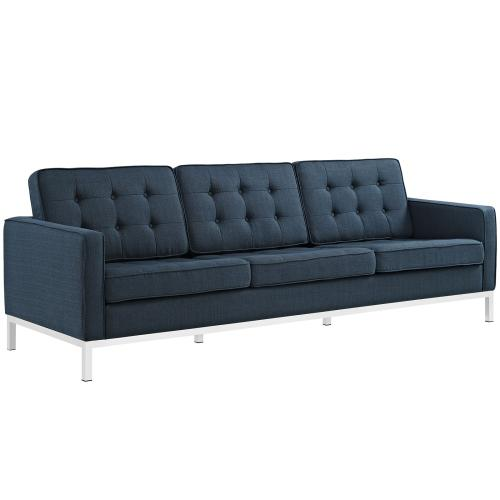 Loft 3 Piece Upholstered Fabric Sofa Loveseat and Armchair Set in Azure