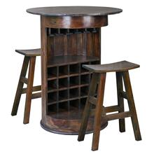 CC-RAK063S_C20BS-OJ  10 Bottle Barrel Bar with 2 Stools  Wine Glass Rack  Solid Wood  Java Brown