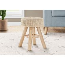 See Details - OTTOMAN - BEIGE KNIT / NATURAL WOOD LEGS