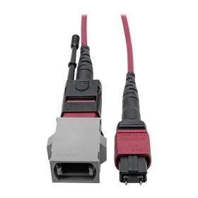 MTP/MPO Parallel Optics Base-8 Migration Fiber Adapter, Polarity C to B, 12 Fiber, 40GB/100GB, OM4 M/F, Magenta, 8 in.