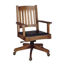 See Details - Arm Chair Slat Back Swivel Base, Oak Swivel Tilt Desk Chair