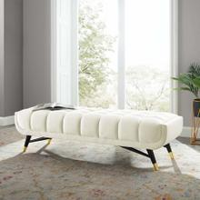 "Adept 60"" Performance Velvet Bench in Ivory"