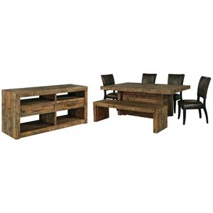 Gallery - Dining Table and 4 Chairs and Bench With Storage