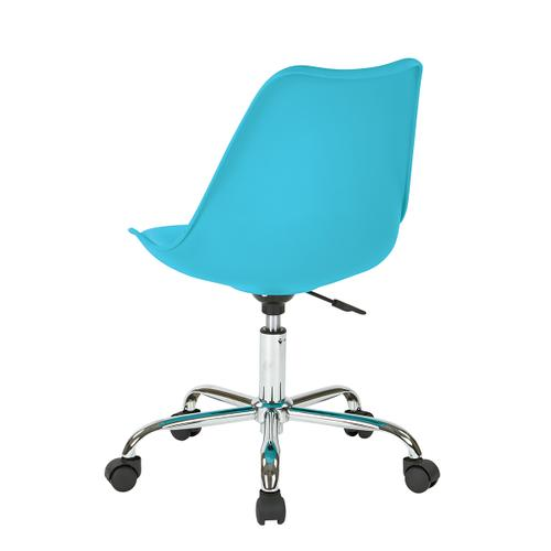 Emerson Student Office Chair With Pneumatic Chrome Base In Teal Finish