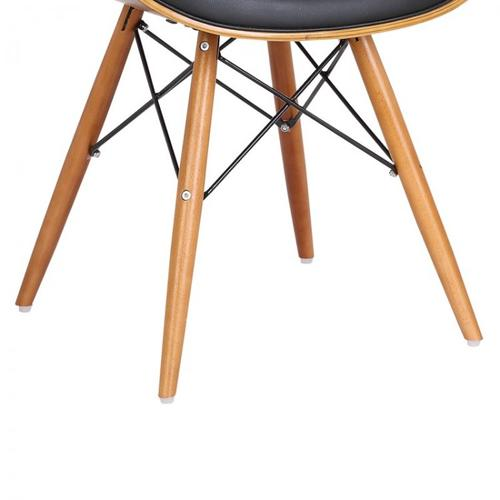 Armen Living Cassie Mid-Century Dining Chair in Walnut Wood and Black Faux Leather