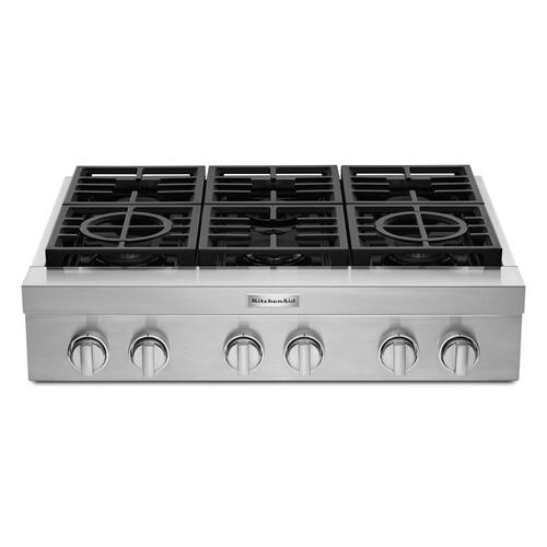 KitchenAid® 36'' 6-Burner Commercial-Style Gas Rangetop - Stainless Steel