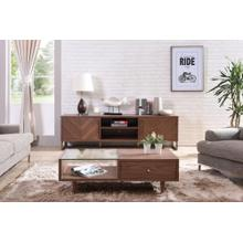 Modrest Chevron Modern Walnut TV Stand