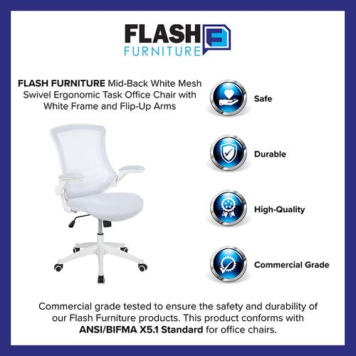 Gallery - Mid-Back White Mesh Swivel Ergonomic Task Office Chair with White Frame and Flip-Up Arms