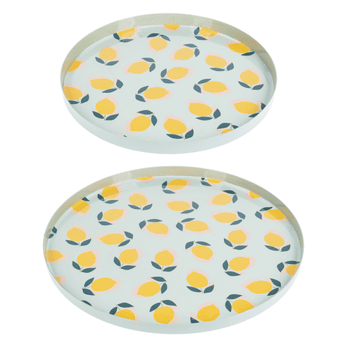 Round Enamel Lemon Tray (2 pc. set)
