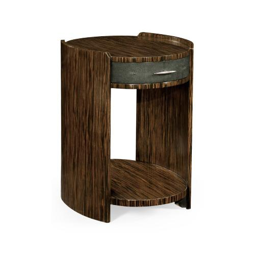 Anthracite Faux Shagreen and Macassar Ebony Side Table