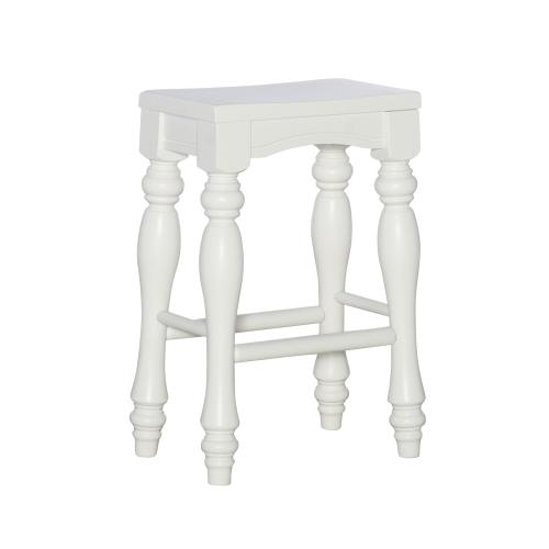 Turned Legs and Solid Wood Seat Counter Stools, White (set of 2)