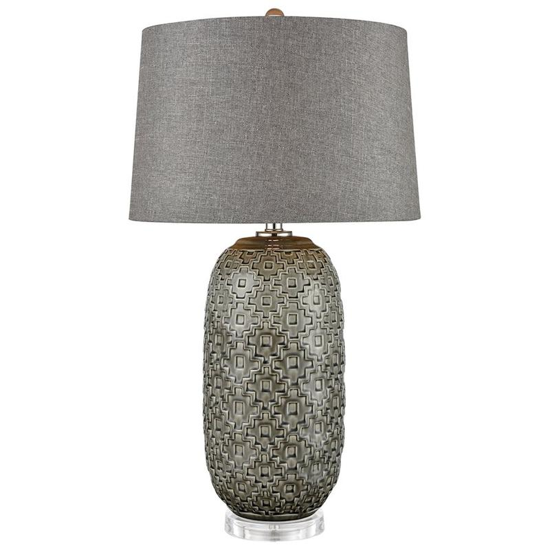 Malaga Table Lamp In Glazed Grey Ceramic With Geometric Pattern and Grey Linen Hardback Shade