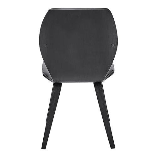 Ontario Gray Faux Leather and Black Wood Dining Chairs - Set of 2