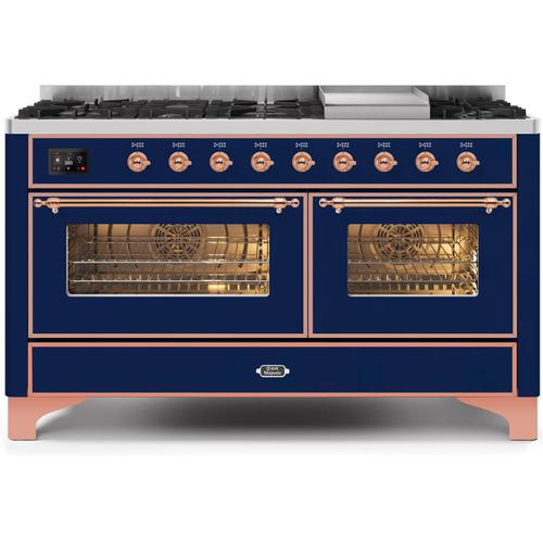 Gallery - Majestic II 60 Inch Dual Fuel Natural Gas Freestanding Range in Blue with Copper Trim