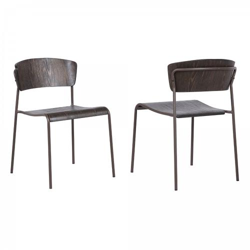Armen Living - Nick Walnut and Metal Open Back Dining Accent Chairs (Set of 2)