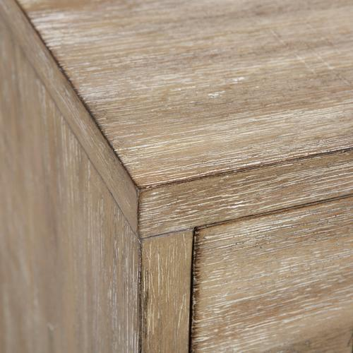 Product Image - Industrial Styled Acacia Wood Three Drawer Side Table