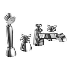 Guinevere® Deck-Mount Bath Faucet with Cross Handles, Handshower and Diverter - Polished Chrome Finish