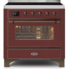 Majestic II 36 Inch Electric Freestanding Range in Burgundy with Bronze Trim