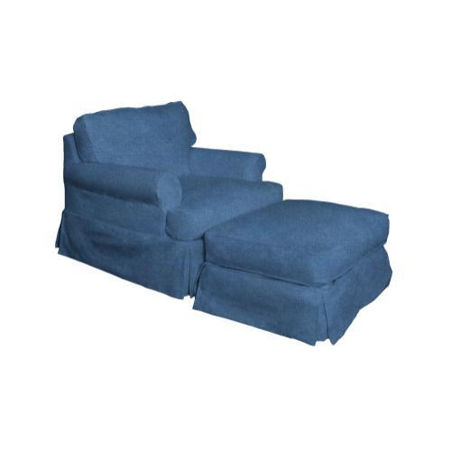 Horizon Slipcovered Chair and Ottoman - 410046