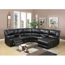 Arcelia 5pc Reclining/motion Home Theater Sofa Set, Black-bonded-leather