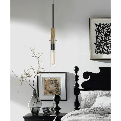 60W Silverton Metal/Wood Mini Pendant With Glass Shades. (Edison Bulb included)