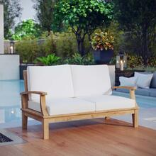 See Details - Marina Outdoor Patio Teak Loveseat in Natural White