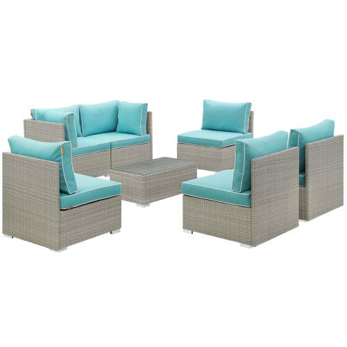 Repose 7 Piece Outdoor Patio Sectional Set in Light Gray Turquoise