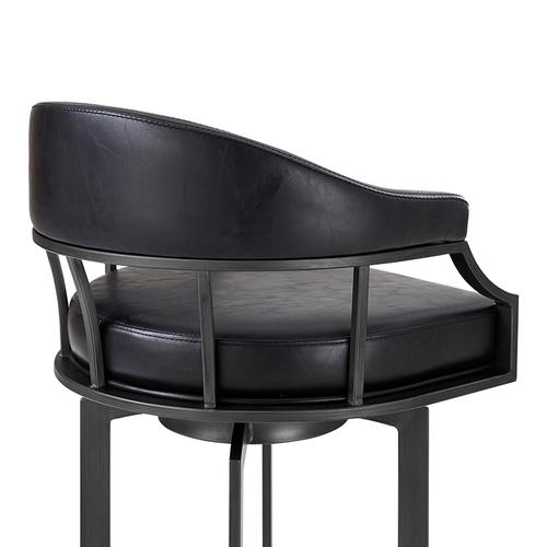 """Edy Swivel 26"""" Mineral Finish and Black Faux Leather Bar Stool"""