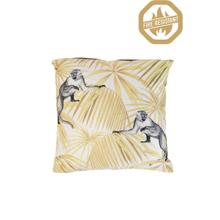 """66836360FR - MONKEY Pillow Velvet Yellow+White, Polyester Fill, 18""""x18"""""""