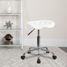 View Product - Vibrant White Tractor Seat and Chrome Stool