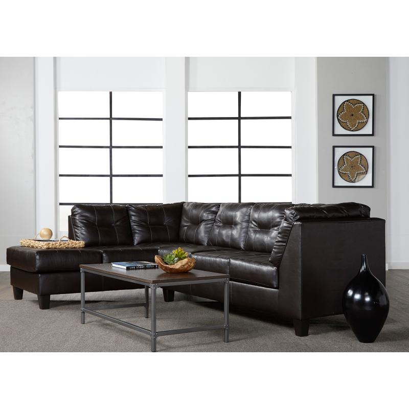 View Product - San Mar Chocolate 2 Pc Sofa Chaise Sectional