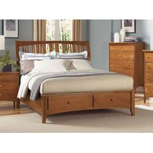 E King Sleigh Profile Bed W/ Storage