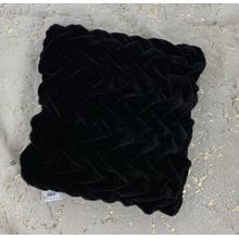 "See Details - Soft Heavy Faux Fur Loufie Pillow by Rug Factory Plus - 20"" x 20"" / Black"
