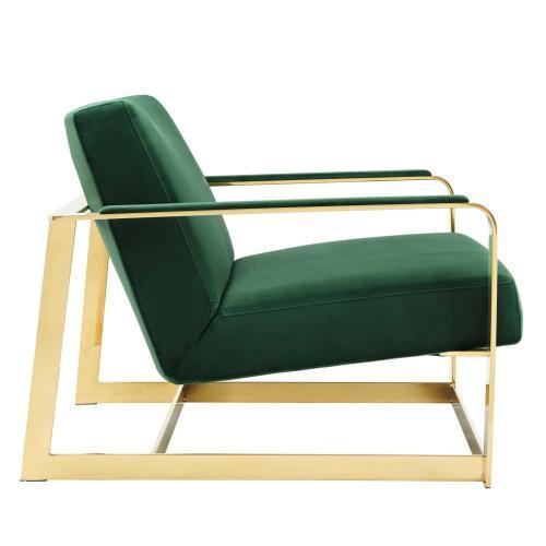 Seg Performance Velvet Accent Chair in Gold Emerald
