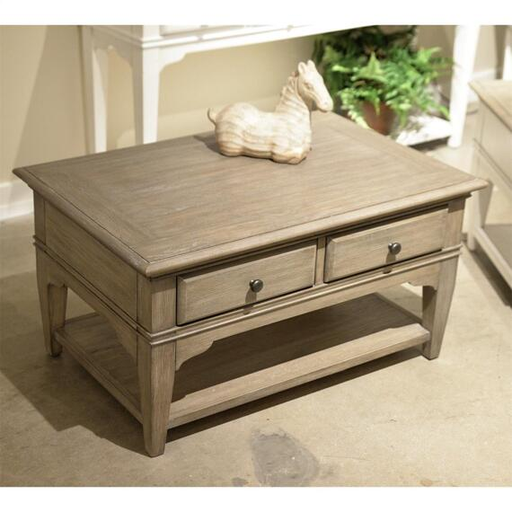 Riverside - Myra - Small Leg Coffee Table - Natural Finish