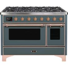 View Product - Majestic II 48 Inch Dual Fuel Liquid Propane Freestanding Range in Blue Grey with Copper Trim