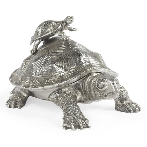 White Brass Turtle Container