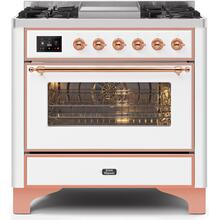 Majestic II 36 Inch Dual Fuel Natural Gas Freestanding Range in White with Copper Trim