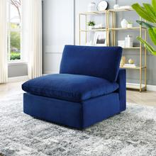 Commix Down Filled Overstuffed Performance Velvet Armless Chair in Navy