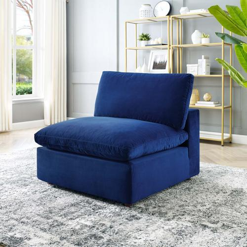 Modway - Commix Down Filled Overstuffed Performance Velvet Armless Chair in Navy