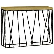 Hammered Antique Black Brass Console with Celadon Top