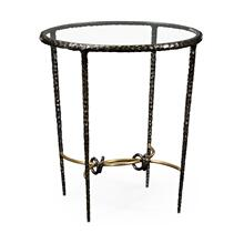 Bronze finish hammered iron circular side table