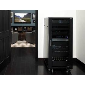 """Black 55"""" Tall AV Rack 27U Component rack for home theater equipment"""
